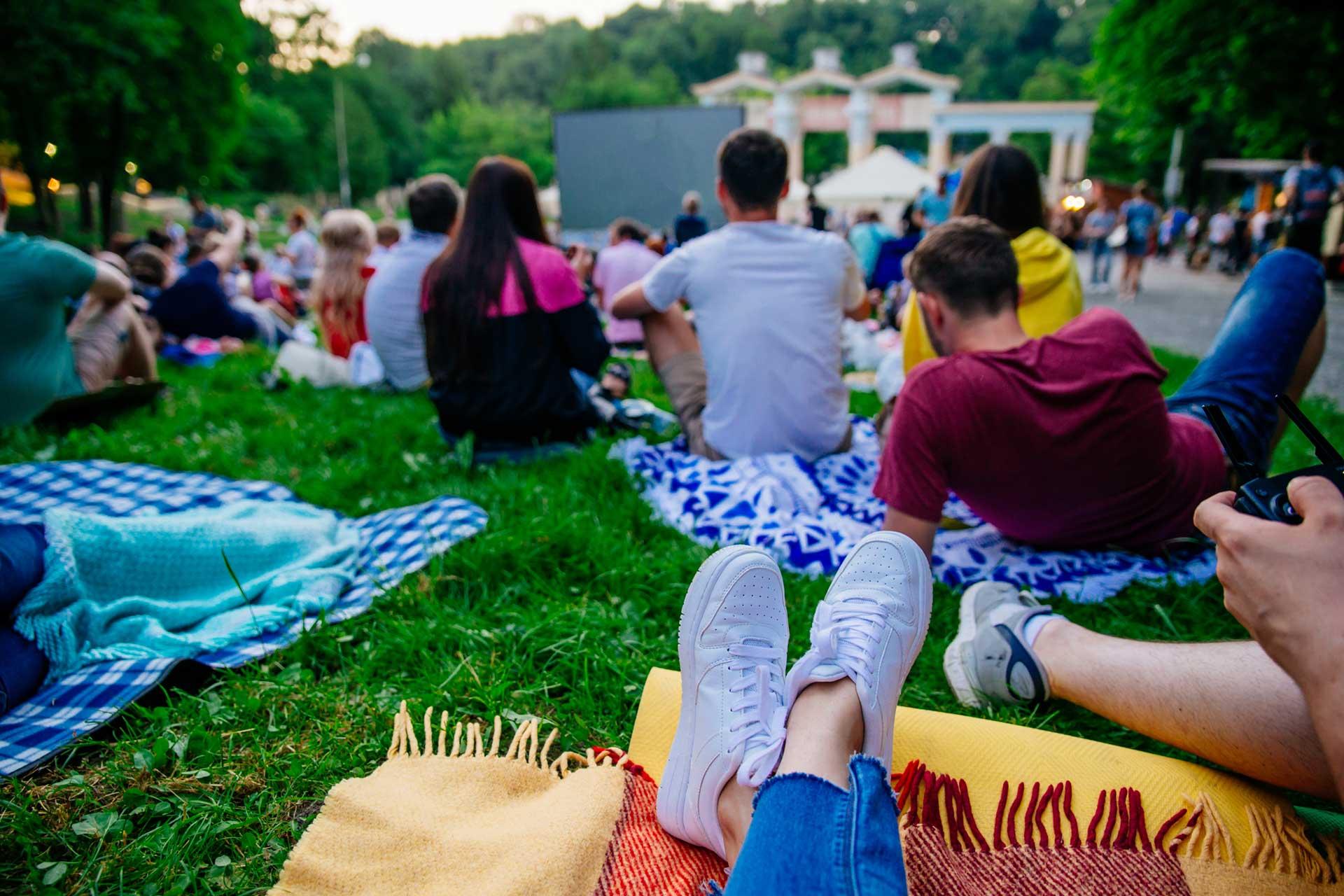 summer concert goers
