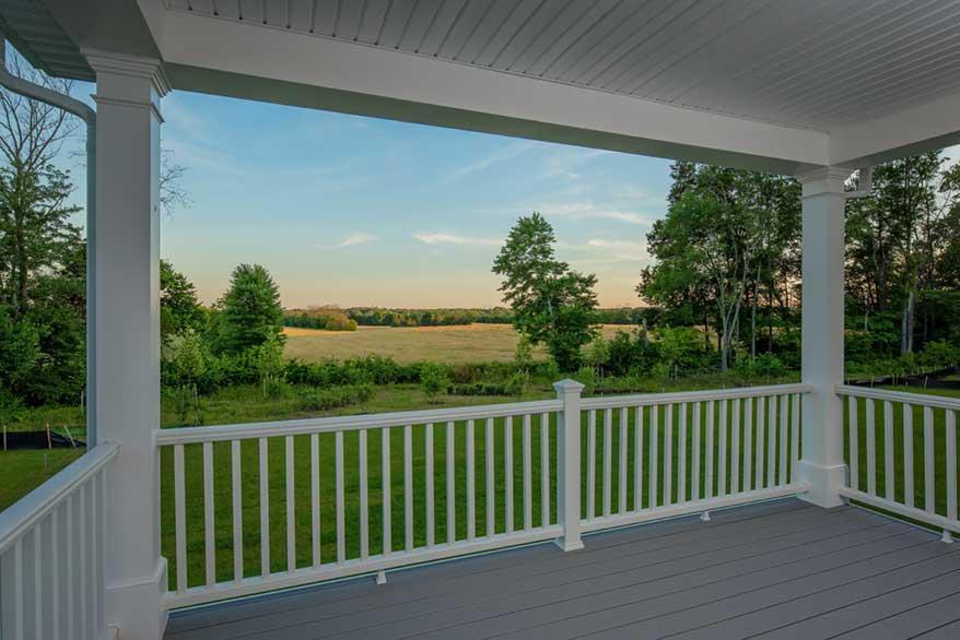 Porch overlooking beautiful sunset