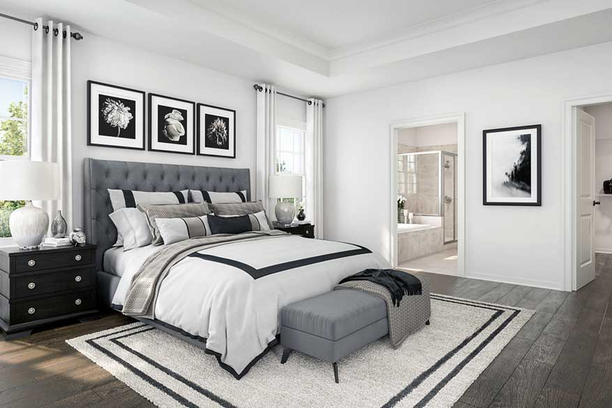 Bedroom decorated in black and white
